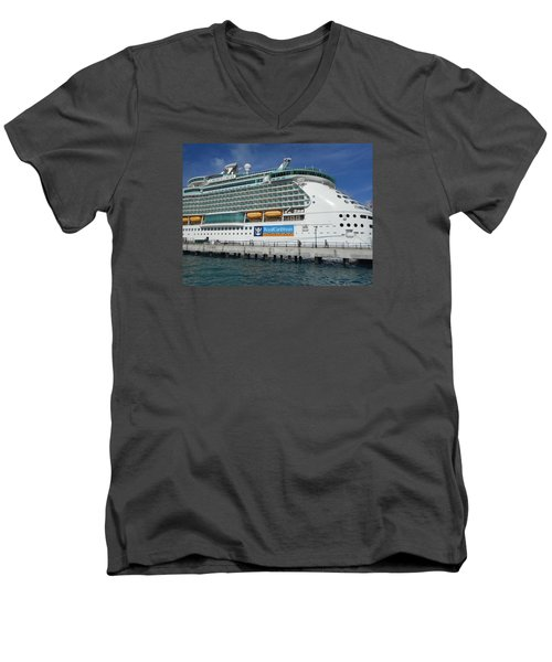Cruise Ship Men's V-Neck T-Shirt by Kathleen Peck