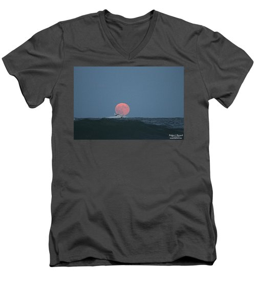 Cruising On A Wave During Harvest Moon Men's V-Neck T-Shirt