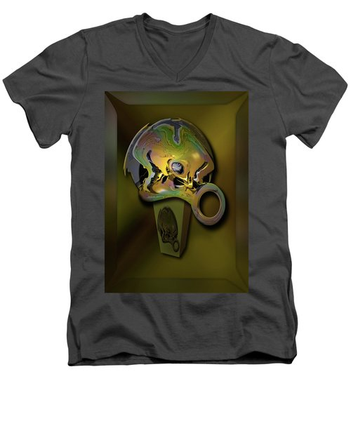 Men's V-Neck T-Shirt featuring the digital art Crushing Affinity by Steve Sperry
