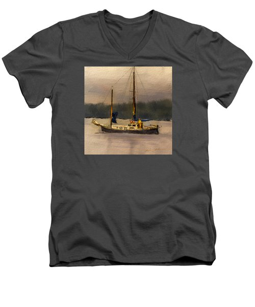 Crusing The Sound Men's V-Neck T-Shirt by Dale Stillman