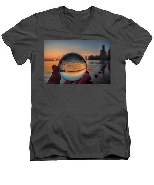 Crystal Ball On Chicago's Lakefront At Sunrise Men's V-Neck T-Shirt