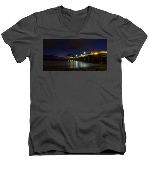 Crystal Beach Pier Blue Hour  Men's V-Neck T-Shirt