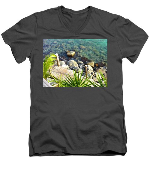 Crystal Clear Men's V-Neck T-Shirt by Beth Saffer