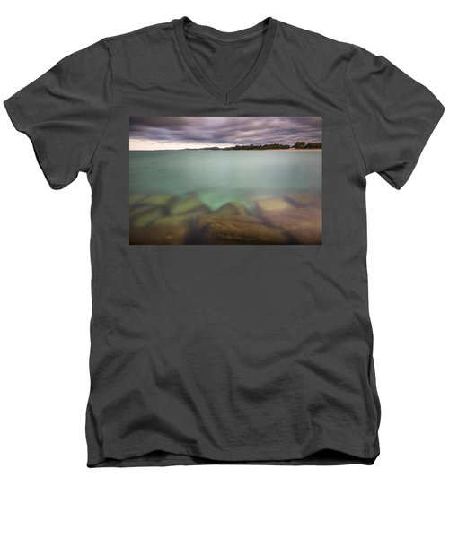 Men's V-Neck T-Shirt featuring the photograph Crystal Clear Lake Michigan Waters by Adam Romanowicz