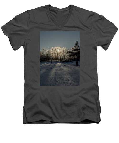 Men's V-Neck T-Shirt featuring the photograph Crystal Glow by Annette Berglund