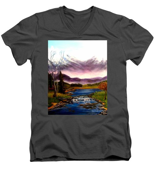 Crystal Lake With Snow Capped Mountains Men's V-Neck T-Shirt by Kimberlee Baxter