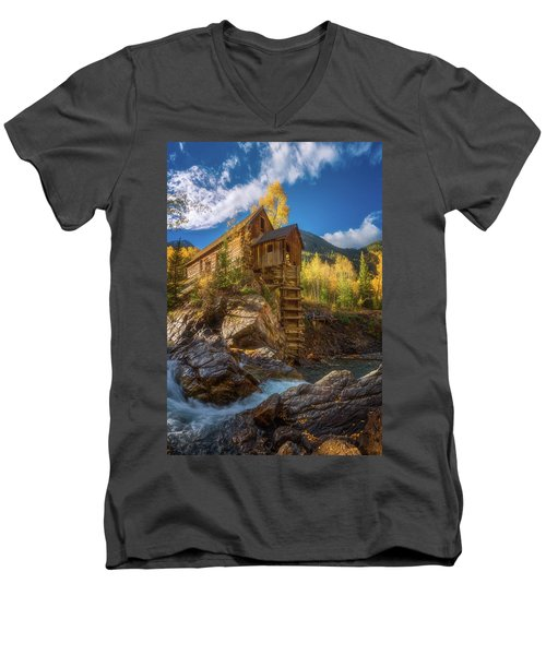 Crystal Mill Morning Men's V-Neck T-Shirt by Darren White