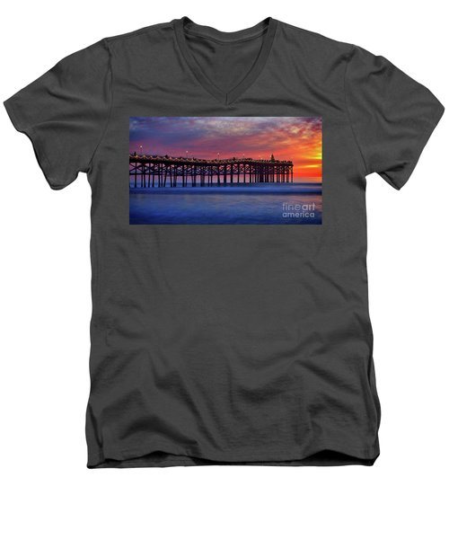 Crystal Pier In Pacific Beach Decorated With Christmas Lights Men's V-Neck T-Shirt