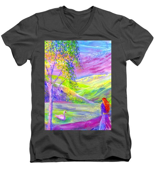Men's V-Neck T-Shirt featuring the painting Crystal Pond, Silver Birch Tree And Swan by Jane Small
