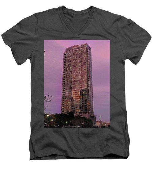 Crystal Skyscraper Sunset Men's V-Neck T-Shirt