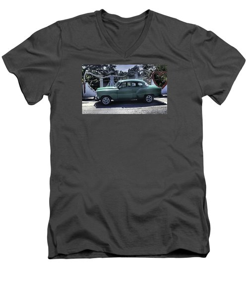 Cuba Car 8 Men's V-Neck T-Shirt by Will Burlingham