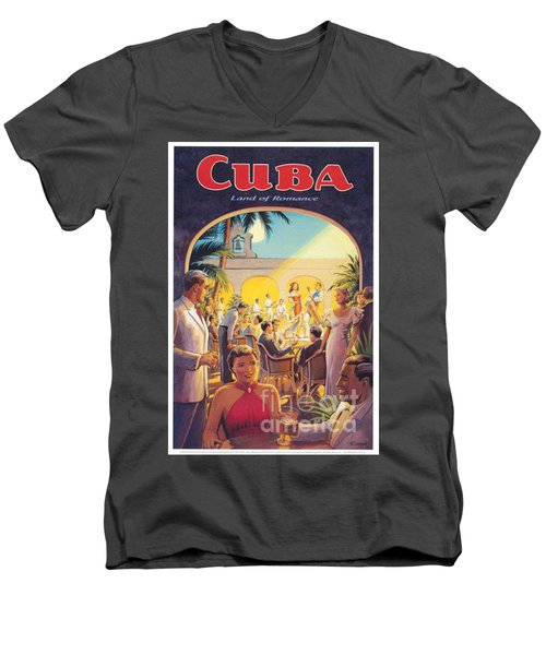Cuba-land Of Romance Men's V-Neck T-Shirt by Nostalgic Prints