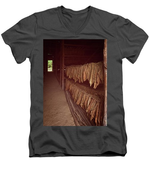 Men's V-Neck T-Shirt featuring the photograph Cuban Tobacco Shed by Joan Carroll
