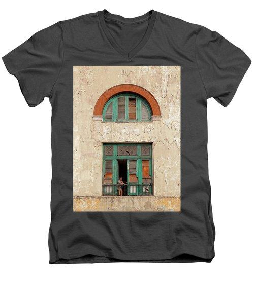 Men's V-Neck T-Shirt featuring the photograph Cuban Woman On San Pedro Balcony Havana Cuba by Charles Harden