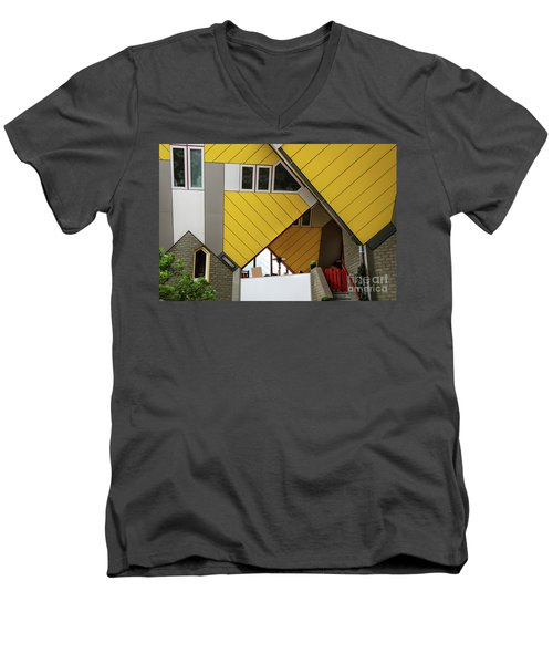 Men's V-Neck T-Shirt featuring the photograph Cube Houses Detail In Rotterdam by RicardMN Photography