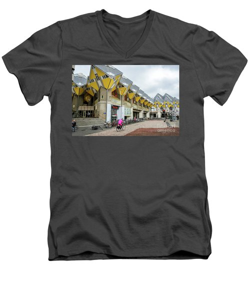 Men's V-Neck T-Shirt featuring the photograph Cube Houses In Rotterdam by RicardMN Photography