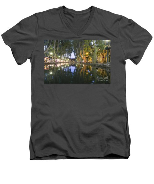 Men's V-Neck T-Shirt featuring the photograph Cucuron Village Provence  by Juergen Held