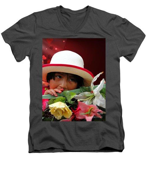 Men's V-Neck T-Shirt featuring the photograph Cuenca Kids 887 by Al Bourassa