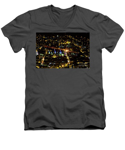 Men's V-Neck T-Shirt featuring the photograph Cuenca's Historic District At Night by Al Bourassa