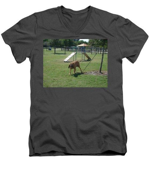 Cujo Running At The Park Men's V-Neck T-Shirt