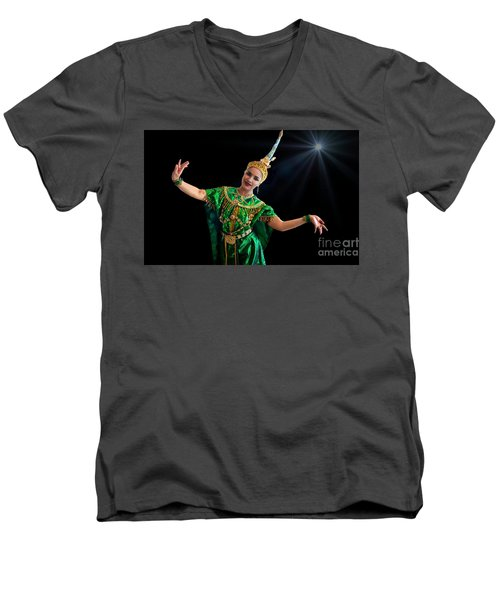 Cultural Thai Dance Men's V-Neck T-Shirt