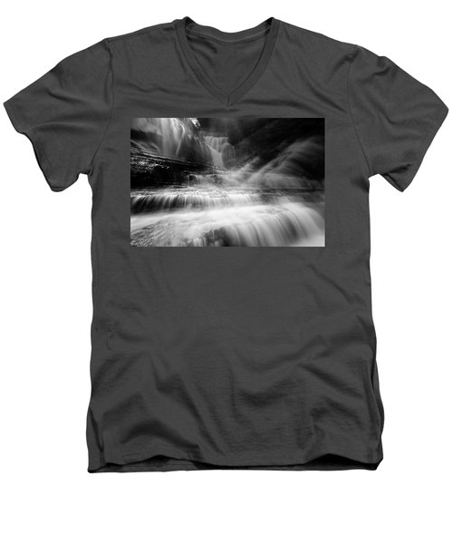 Cummins Falls In Black And White Men's V-Neck T-Shirt