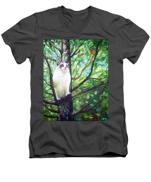 Curious Cat Men's V-Neck T-Shirt