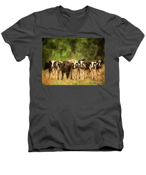 Men's V-Neck T-Shirt featuring the digital art Curious Cows by Lois Bryan