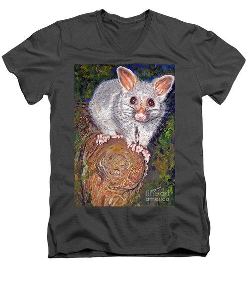 Curious Possum  Men's V-Neck T-Shirt