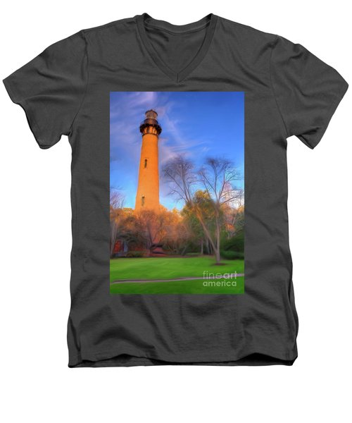 Currituck Lighthouse In Winter Outer Banks Ap Men's V-Neck T-Shirt by Dan Carmichael