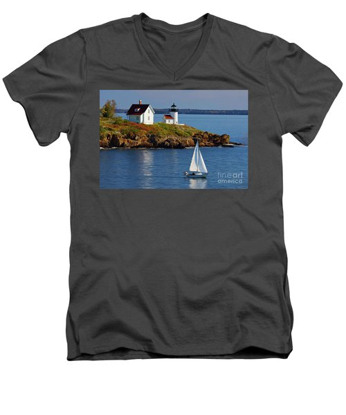 Curtis Island Lighthouse - D002652b Men's V-Neck T-Shirt