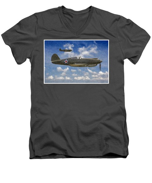 Curtis P-40 Warhawks Men's V-Neck T-Shirt by Kai Saarto
