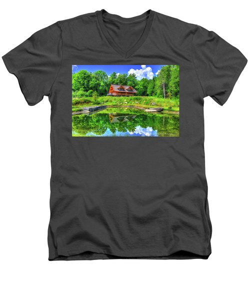 Men's V-Neck T-Shirt featuring the photograph Curtis Vance Memorial Apple Orchard by Jim Boardman