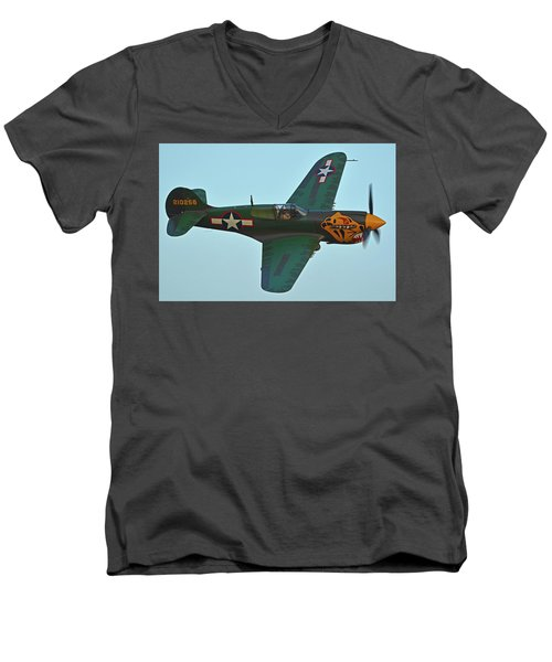 Men's V-Neck T-Shirt featuring the photograph Curtiss P-40k Warhawk N401wh Chino California April 29 2016 by Brian Lockett