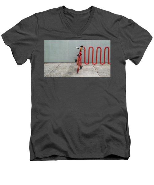 Curved Rack In Red - Urban Parking Stalls Men's V-Neck T-Shirt
