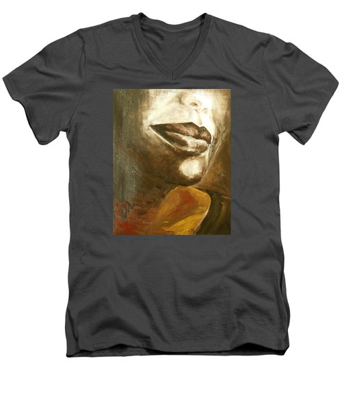 Men's V-Neck T-Shirt featuring the painting Curves  by Jane See