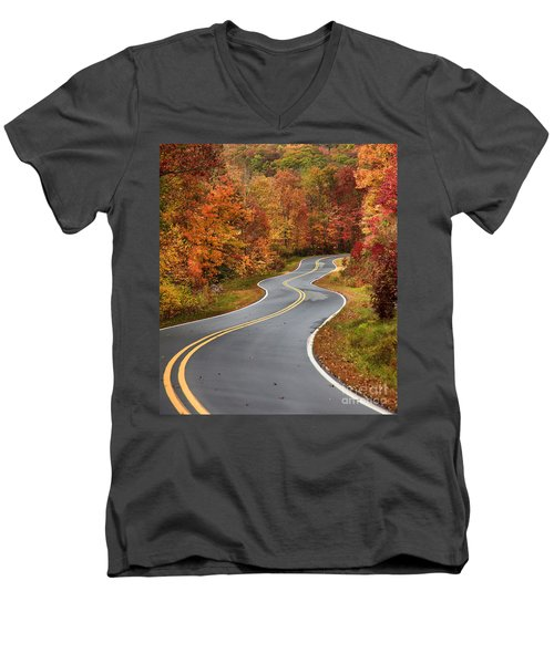 Curvy Road In The Mountains Men's V-Neck T-Shirt