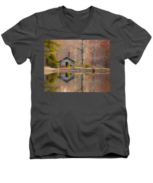 Custom Crop - Cabin By The Lake Men's V-Neck T-Shirt by Shelby  Young