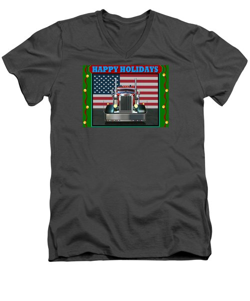 Men's V-Neck T-Shirt featuring the digital art Custom Pete Happy Holidays by Stuart Swartz