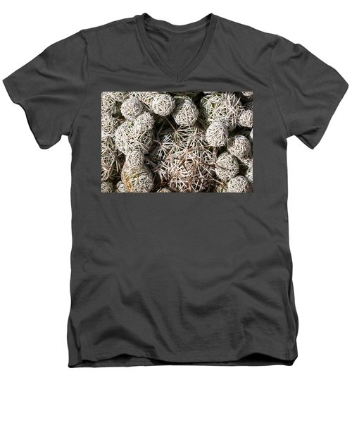 Men's V-Neck T-Shirt featuring the photograph Cute Cactus Ball by Catherine Lau