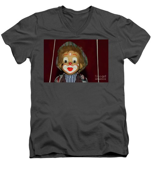 Men's V-Neck T-Shirt featuring the photograph Cute Little Clown By Kaye Menner by Kaye Menner