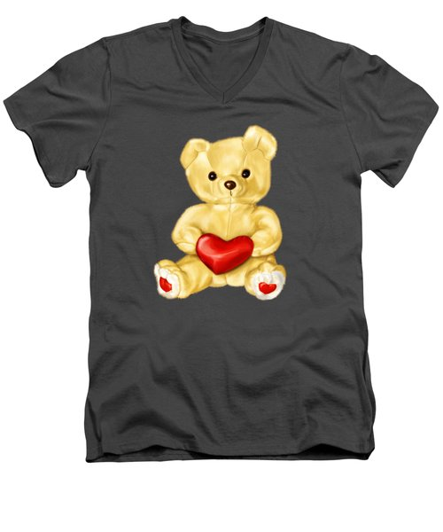 Cute Teddy Bear Hypnotist Men's V-Neck T-Shirt by Boriana Giormova