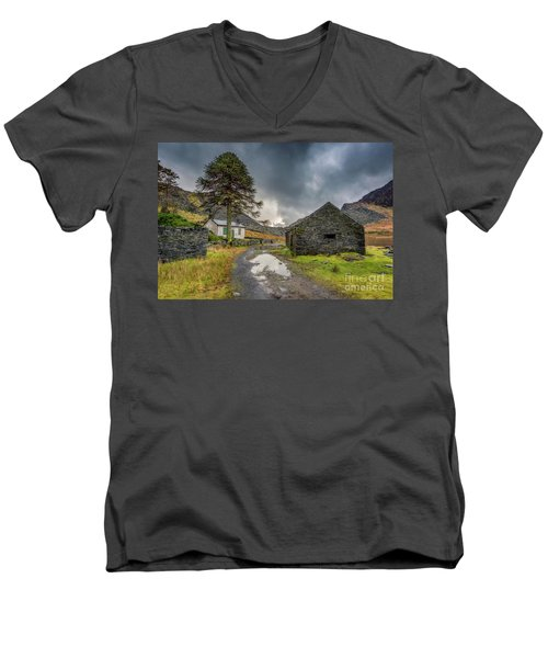 Men's V-Neck T-Shirt featuring the photograph Cwmorthin Slate Ruins by Adrian Evans