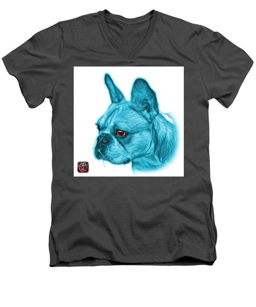 Cyan French Bulldog Pop Art - 0755 Wb Men's V-Neck T-Shirt