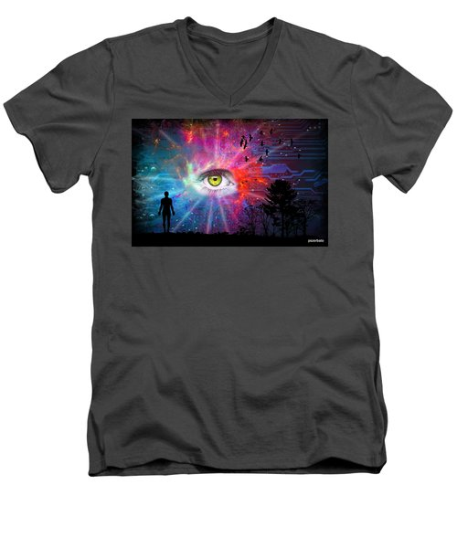 Cyber Sky Men's V-Neck T-Shirt by Paulo Zerbato