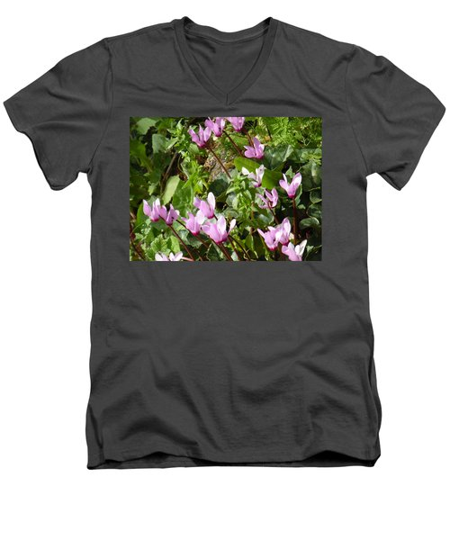 Cyclamen In Spring Men's V-Neck T-Shirt by Esther Newman-Cohen