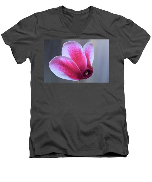 Men's V-Neck T-Shirt featuring the photograph Cyclamen Portrait. by Terence Davis