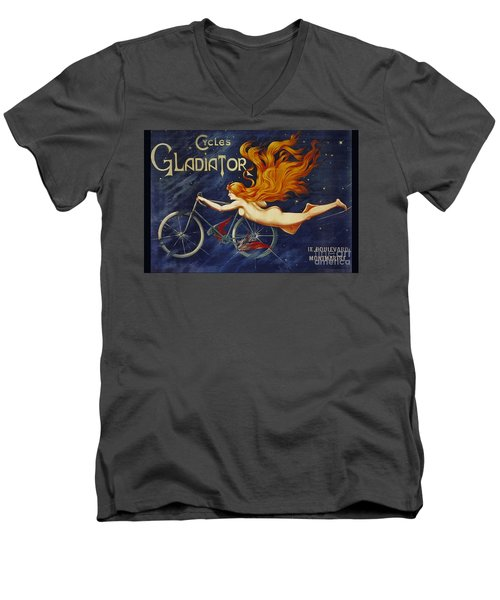 Cycles Gladiator  Vintage Cycling Poster Men's V-Neck T-Shirt
