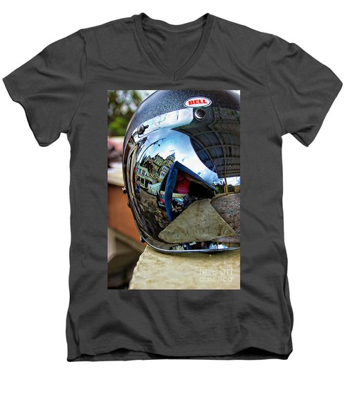Men's V-Neck T-Shirt featuring the photograph Cyclist's View Of Biblian Church by Al Bourassa