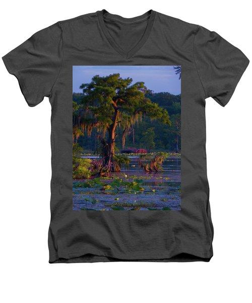 Cypress In The Sunset Men's V-Neck T-Shirt by Kimo Fernandez